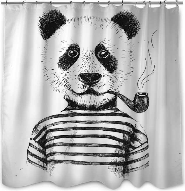 Hand Drawn Illustration Of Hipster Panda Shower Curtain