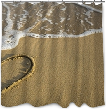 Heart drawn on ocean beach sand. Wall Mural • Pixers® • We live to ...