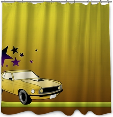 Illustration Of Ford Mustang Shower Curtain