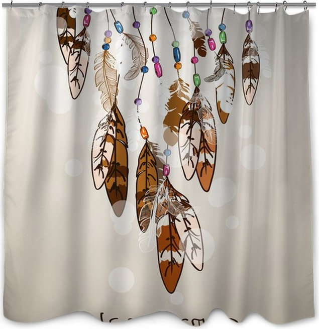 Illustration With American Indians Dreamcatcher Shower Curtain