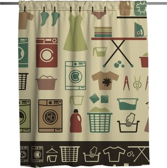 Collection Of Retro Style Laundry Room Symbols And Icons Shower Curtain Pixers We Live To Change