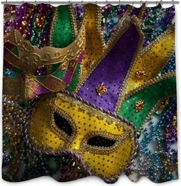 Mardi Gras Mask And Beads Shower Curtain