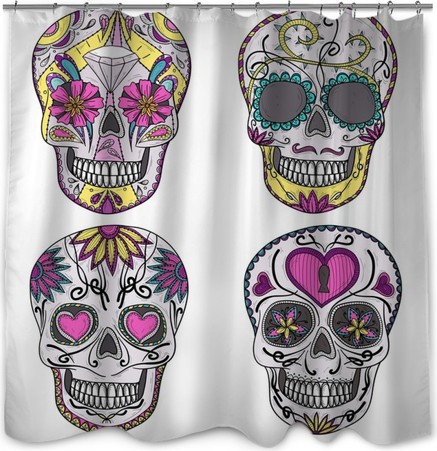 mexican skull set colorful skulls with flower and heart ornamen