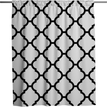 moroccan seamless pattern in black and white Shower Curtain