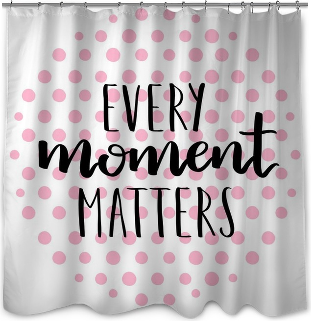 Motivational Quotes On Polka Dot Circle Background Black Ink Lettering Colored Dots Hand Written Calligraphy Element For Your Design Shower Curtain