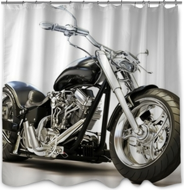 Motorcycle On A White Background Shower Curtain