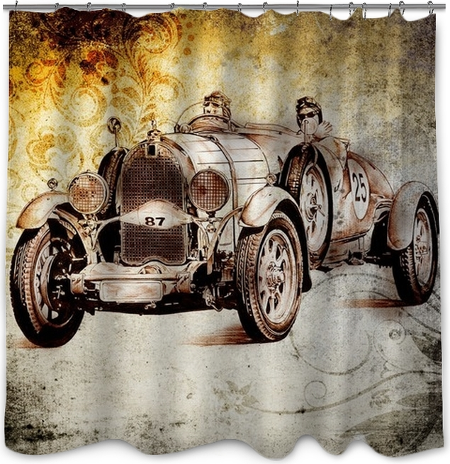 Old Classic Car Retro Vintage Shower Curtain