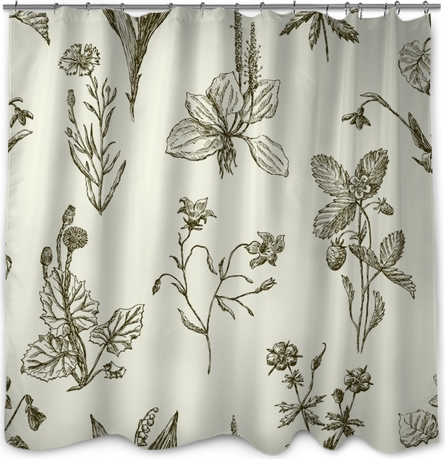 Pattern Of The Sketches Wildflowers Shower Curtain