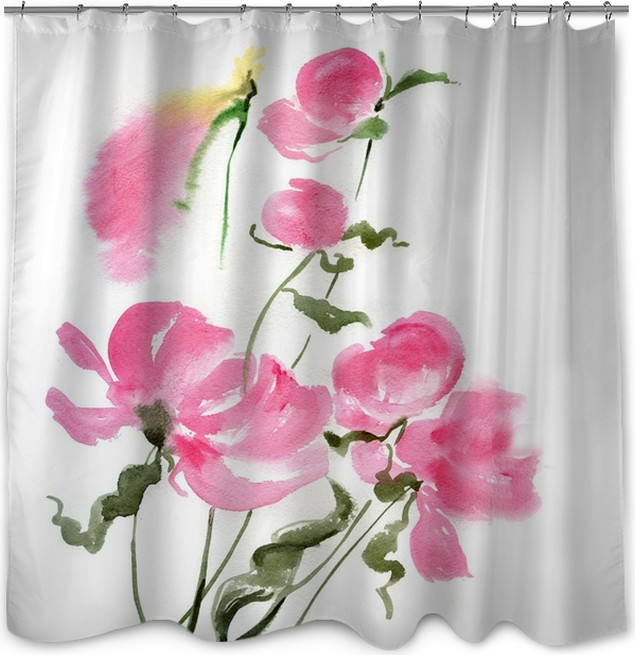 Pink flowers shower curtain pixers we live to change pink flowers shower curtain art and creation mightylinksfo