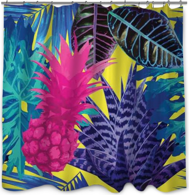 Pink Pineapple And Blue Exotic Plants Seamless Background Shower Curtain