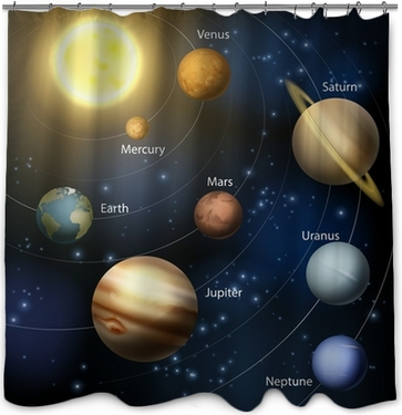 Solar System Planets Diagram Shower Curtain Pixers We Live To