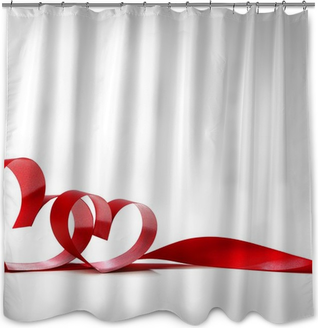 Red Heart Ribbons Shower Curtain