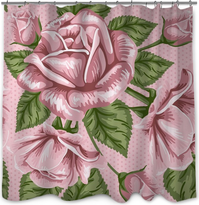 Retro flower seamless pattern - roses Shower Curtain • Pixers® • We ...