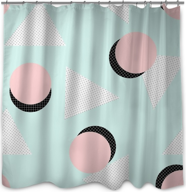 Retro Geometric Pattern Shower Curtain O PixersR O We Live To Change