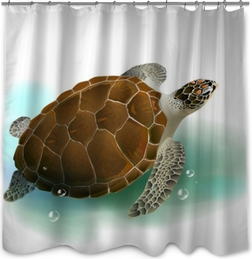 turtles family swimming in the ocean Shower Curtain • Pixers® • We ...
