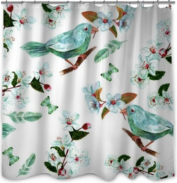 Seamless background pattern with watercolor bird, flowers, feathers and butterflies Shower Curtain