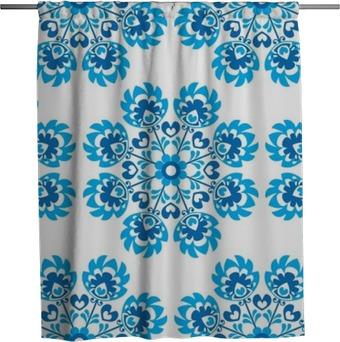 Seamless blue floral Polish folk art pattern - wycinanki Shower Curtain