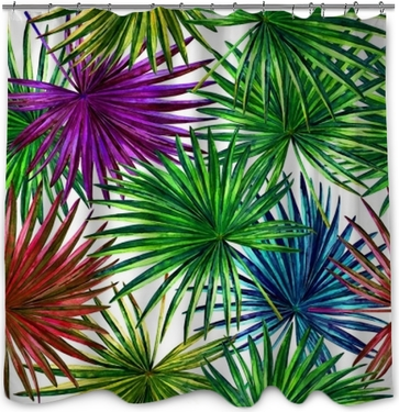 Seamless floral pattern with beautiful watercolor fan palm leaves. Colorful jungle foliage on white background. Textile design. Shower Curtain