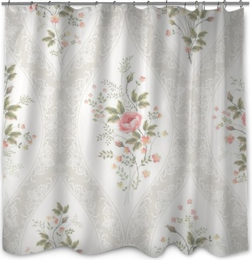 seamless floral pattern with lace and floral bouquet Shower Curtain