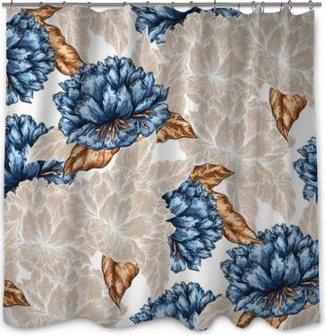 Seamless Graphic Flower Pattern Shower Curtain