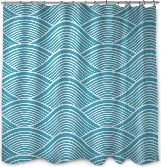 Seamless Ocean Wave Pattern Shower Curtain