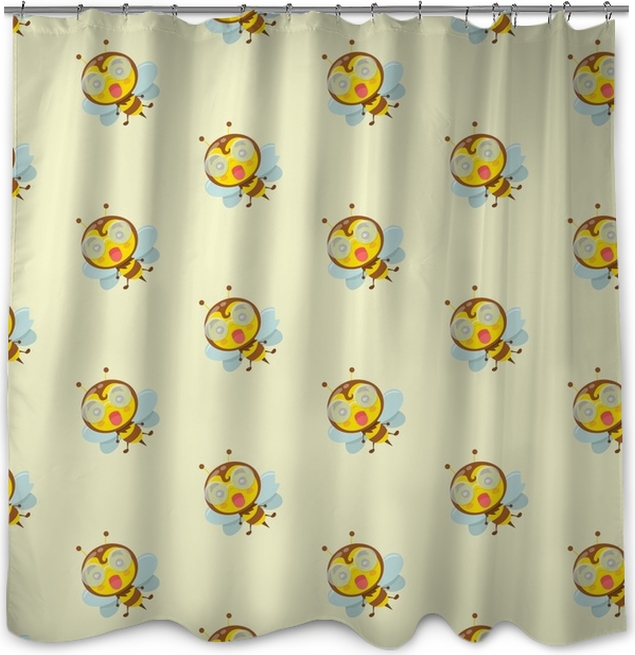 Seamless Pattern With Flying Bee Shower Curtain