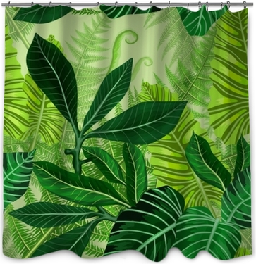 Seamless pattern with tropical palm leaves Shower Curtain