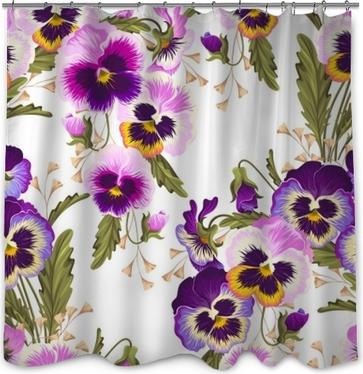 Seamless Varicolored Pansies Shower Curtain