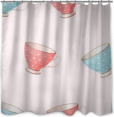 Seamless vintage teacups Shower Curtain