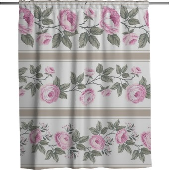 set of seamless floral borders with roses Shower Curtain