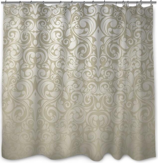 Silver - Wallpaper Shower Curtain • Pixers® • We live to change