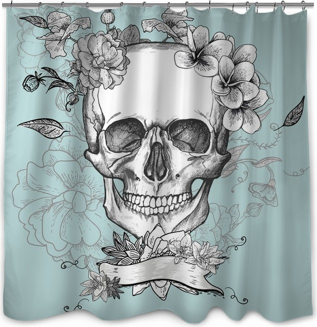 Skull And Flowers Day Of The Dead Shower Curtain