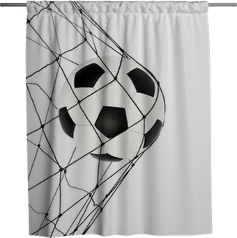 soccer ball in the net gate Shower Curtain