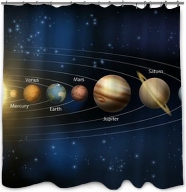 Solar System With Cute Smiling Planets Sun And Moon Shower Curtain