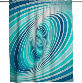 Teal Shower Curtain Abstract Vortex Design Print for Bathroom
