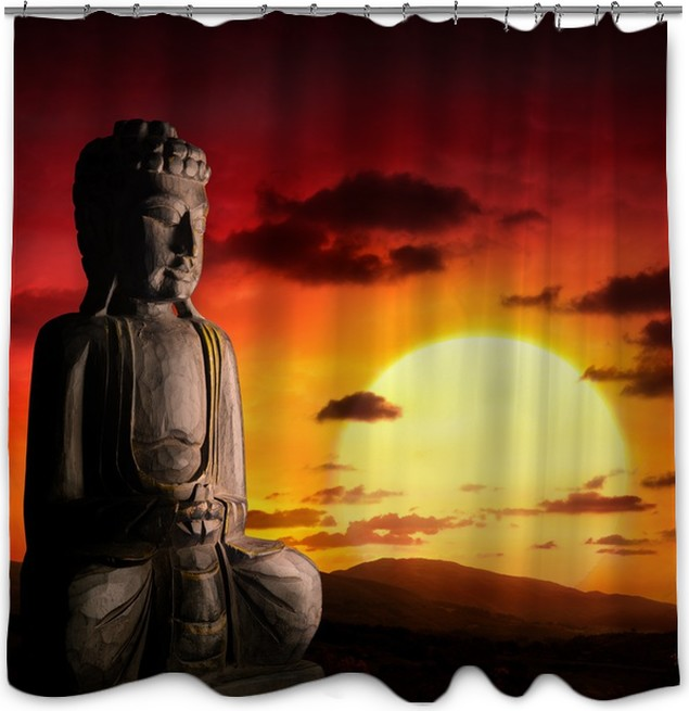Spiritual Background Of Asian Culture With Buddha Shower Curtain