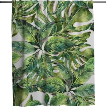 Summer exotic watercolor seamless pattern Shower Curtain