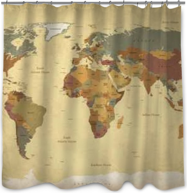 textured vintage world map englishus labels vector cmyk shower curtain