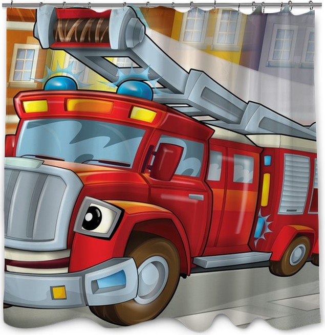 The Fire Truck To Rescue Illustration For Children Shower Curtain