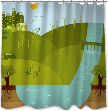 Think Greengo Green Sustainable Environment Shower Curtain