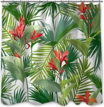 Tropical Palm Leaves and Flowers, Jungle Leaves Seamless Vector Floral Pattern Background Shower Curtain