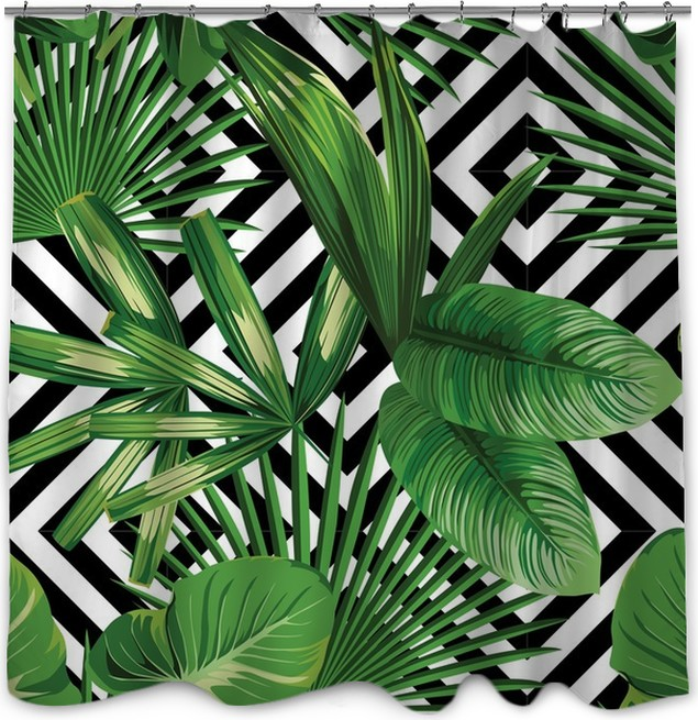 Tropical Palm Leaves Pattern Geometric Background Shower Curtain