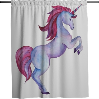 Unicorn collection. Watercolor objects Shower Curtain