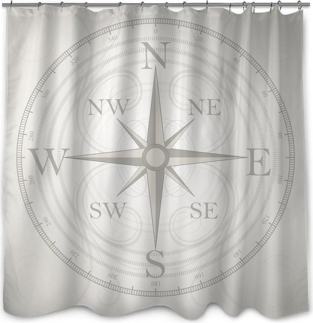 Vector Compass Shower Curtain