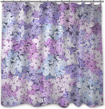 Vector Seamless Background With Purple Pink And Blue Lilac Flowers Shower Curtain