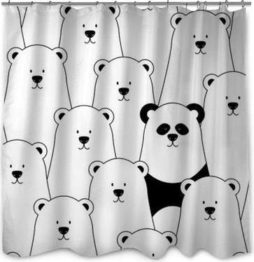 Vector Seamless Pattern With White Polar Bears And Panda Shower Curtain