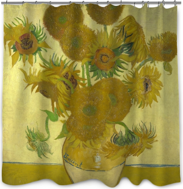 ad766a5748c492 Vincent van Gogh - Sunflowers Shower Curtain • Pixers® • We live to ...