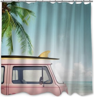 Vintage Car Parked On The Tropical Beach Seaside With A Surfboard Roof Shower Curtain