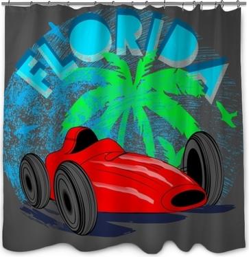 Vintage car tee graphic design.. Shower Curtain