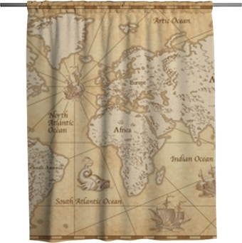Vintage Illustrated World Map Shower Curtain